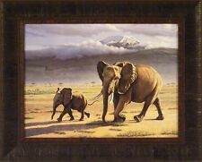 NORTH OF KILIMANJARO by Paul Krapf 17x21 Elephant Calf Cow FRAMED PRINT PICTURE