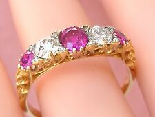 FRENCH LATE VICTORIAN DIAMOND RUBY 5-STONE RING FRANCE c1880 size 10.25 signed
