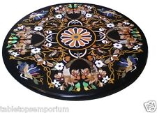 3.5'x3.5' Black Marble Round Dining Room Table Rare Inlay Floral Marquetry Decor