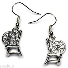 Hand Made Silver Colour Spinning Wheel Earrings HCE345