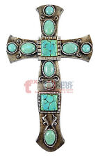 Small Western Turquoise Wall Cross Silver Scrolls Wall Decor Southwestern 10 in