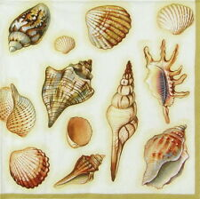 4x Single Table Party Paper Napkins for Decoupage Decopatch Craft Sea Shells