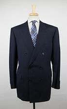 New. BRIONI Penne 21X Navy Blue Wool Double Breasted Suit Size 58/48 R $6450