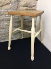 Vintage Tall Wooden Farmhouse Painted Rustic Kitchen Stool Solid Industrial  Bar