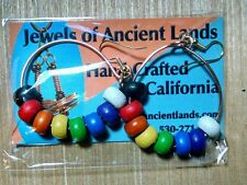 CZECH HARDWOOD RAINBOW BEADS AND COPPER EARRINGS HANDCRAFTED, LIGHT, BEAUTIFUL