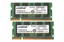 Crucial 4GB 2X 2GB DDR2 PC2 6400 800mhz 200pin CL6 1.8V Sodimm RAM Laptop Memory