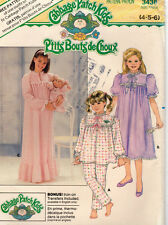 """1985 Butterick Cabbage Patch Kids Sewing Pattern #3436 """"Nightgown, Top Pants"""""""