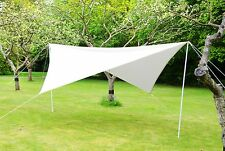 Portable 3.6m Square Ivory Wind Break Sun Sail Shade with Poles, Robes & Pegs