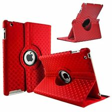 Red Fashion Diamond Leather 360° Rotating Stand Case Cover For iPad 2/3/4
