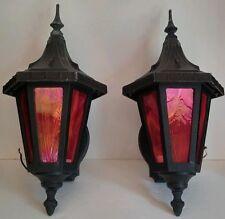 Antique/Vtg Gothic-Mission-Castle Slag Glass Cast Metal Porch/Wall Sconces Light