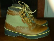 EDDIE BAUER TRINITY LEATHER WATERPROOF CANVAS BOOTS CASUAL 8 M TRAIL WOOL LINED