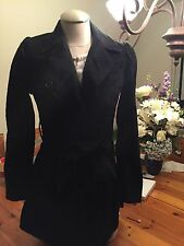 2B Bebe Black Lace Cotton Blend Trench Coat Medium