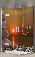 Eck Rückwand Dusche Alu-Dibond Duschrückwand Fliesenspiegel Fliesen, ZEN Sonne