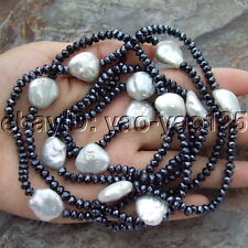 S091411 48'' White keshi Pearl Black Crystal Long Necklace