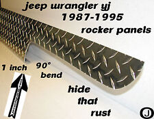 "JEEP YJ Wrangler 6"" Diamond plate Rocker Panel Guards with / 90° 1 inch lip"