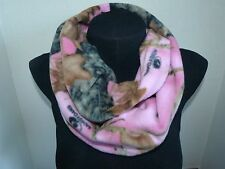 Infinity Scarf Camo Fleece 57 x 8 inches PINK Mossy Oak Break up - Handmade