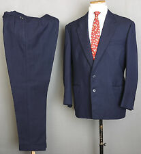 VINTAGE BESPOKE CANVASSED 1950S SUIT 42S 36W 30L NAVY STRIPED WOOL HEAVY CLOTH