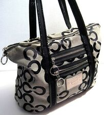 Coach 14530 Poppy Op Art Glam Black Leather Trim Tote Diaper Shoulder Purse Bag