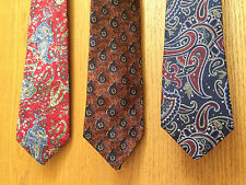 Lot of 3 Vintage 100% SILK PAISLEY NECKTIES, Ties Made in USA or Canada