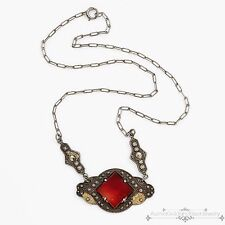 Antique Vintage Art Deco Sterling Silver Red Onyx Marcasite Lavaliere Necklace!