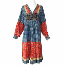 B. ALTMAN & CO. Vtg Ciao Patchwork Paisley Red Blue Yellow 70's Hippie Dress XS