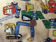Animals in Construction Trucks Dino Dog Novelty Quilt Fabric Fat Quarters FQ FQs
