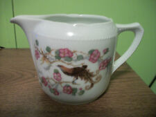White Floral Creamer with Peacock  Made in Germany