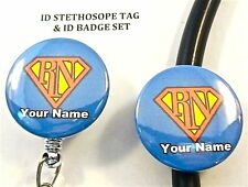 SUPER RN ID STETHOSCOPE & ID BADGE NAME TAG SET, NURSE,MEDICAL, HOSPITAL,ER,