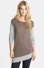 New Vince Taupe, Grey Colorblock Pullover Asyemtical Sweater Size Small