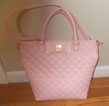 NEW BETSEY JOHNSON Be My Honey Blush Pink Bow Handbag Tote Purse NWT