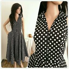 Vintage Repro Black Polkadot Spot Cotton Full Dress1950s Jive Pinup 50s 10 12 38