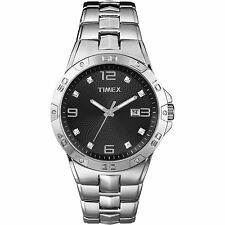 Timex Men's Swarovski Crystal Accents Silver-Tone Dress Watch Black Dial T2P261