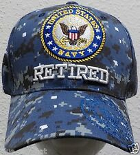 NEW INSIGNIA U.S. NAVY NAVAL USN RETIRED DARK BLUE SEA CAMO CAMOUFLAGE CAP HAT