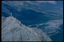 347078 Hiker Overlooking The Mountain River NWT Canada A4 Photo Print