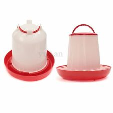 6kg Chicken Chicks Hen Feeder And 6 Liter Poultry Drinker Waterer Plastic Red