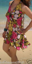 HANDMADE Women's Multi-Color Sexy Halter Floral Beach Party Skirt Dress XS S
