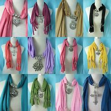 *US SELLER* lot of 5 jewelry scarves wholesale lot pendant necklace scarf