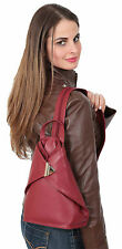 Womens Luxury Leather Backpack RED Rucksack DAY SPORTS HIKING Organiser Bag NEW