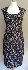 JAX BLACK NUDE LACE EVENING DRESS SIZE 10 BODYCON HOUSE OF FRASER