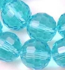8mm Faceted Aqua Blue Quartz Round Beads (25)