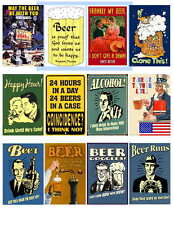 BEER HUMOR SET 2 OF 2  POSTER MAGNETS 12 IMAGES