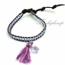 Handmade Leather Wrap Purple Swarovski Flower Tassel  Crystal Beads Bracelet LUU