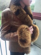 Unique Animal Print Leather Coat Jacket Real Fox Fur One of a Kind sz S M