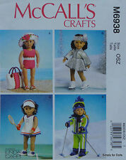 "McCall's 6938 PATTERN for 18"" American Girl DOLL CLOTHES Swimsuit Tennis Skating"