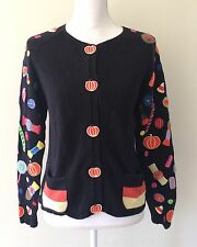 Women's Ugly Black Pumpkin Halloween Fall Candy Sweater, Size Small