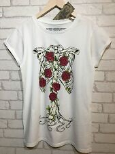 Ladies Halloween Fancy Dress T Shirt Womens Skeleton Bones Red Roses Size S