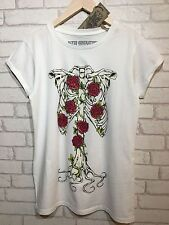 Ladies JILTED GENERATION T Shirt Womens Skeleton Bones Red Roses Size XL