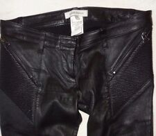 Pierre Balmain Black Stretch Leather Skinny Pants