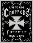 """Choppers Live To Ride 12"""" x 9"""" Motorcycle Novelty Embossed Metal Parking Sign"""