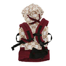 W6 Cotton Baby Carrier Infant Backpack Buckle Sling Wrap Full Pad Adjustable Red